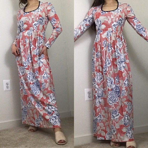 Vintage Dresses & Skirts - Vintage 1970 Anne Fogarty Knit Floral Maxi Dress